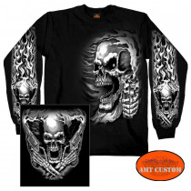 polo tshirt manches longue tête de mort skull assassin homme moto custom trike harley motard biker