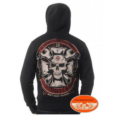 Veste Capuche West Coast Choppers tête de mort skull croix de malte clé anglaise homme moto custom trike harley motard biker