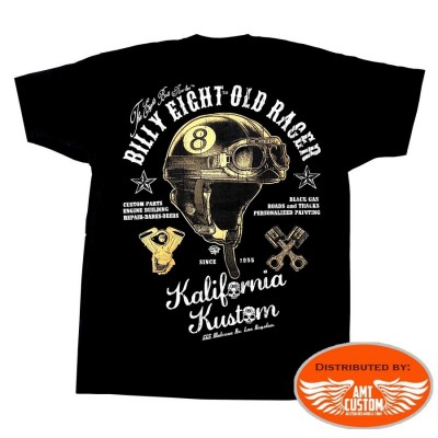 tshirt manches courtes billy eight casque homme moto custom trike harley motard biker