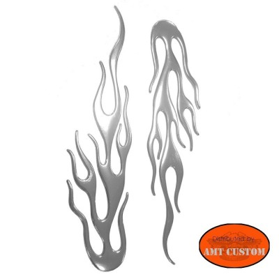 Pack of 2 stickers 3D relief chrome nacreous flames decal