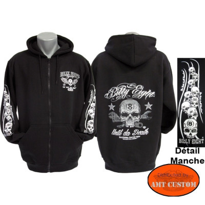 "Veste capuche Biker Billy Eight  ""Until da death"""