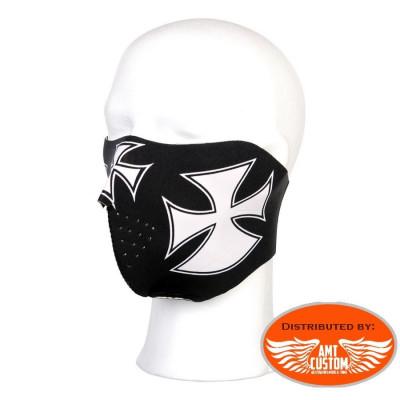 Masque néoprène moto Noir Croix de Malte