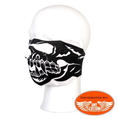 Skull Black & white Neoprene Half Face Mask motorcycle