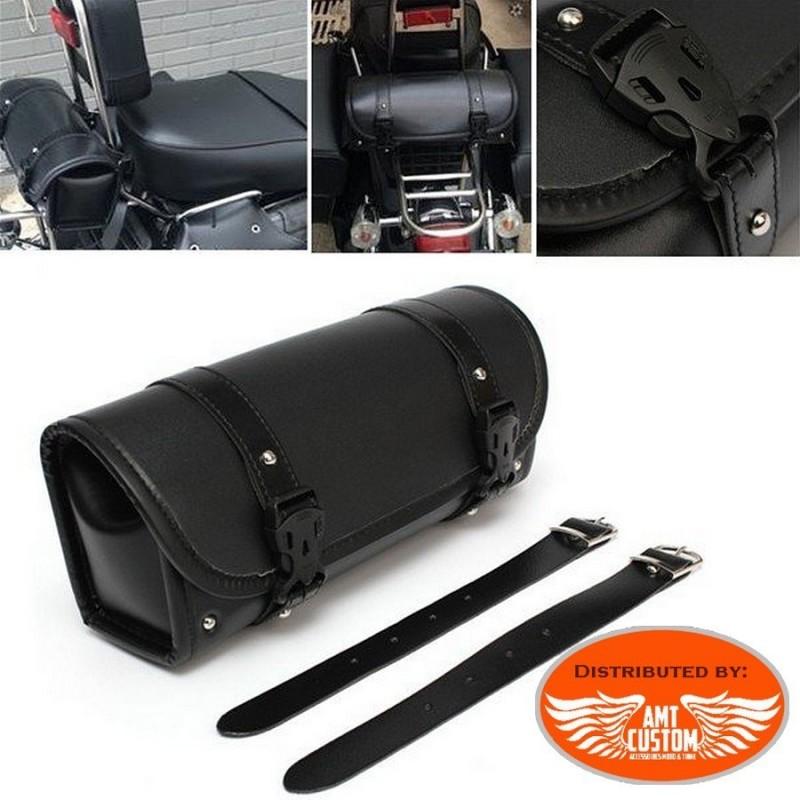 Sacoche uni noir rivet moto custom trike motard harley biker PVC