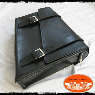 Black leather swingarm bag for Harley Bobber, Choppers