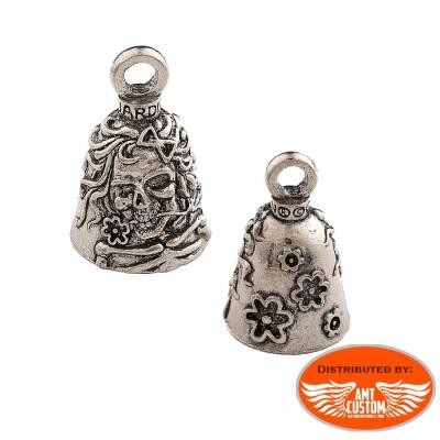 Clochette porte-bonheur Skull flowers Guardian bell