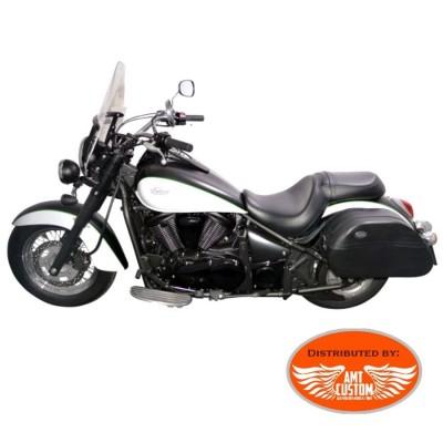 Sacoches moto custom rigides cuir 54 litres - Kawasaki - Suzuki - Yamaha - Harley