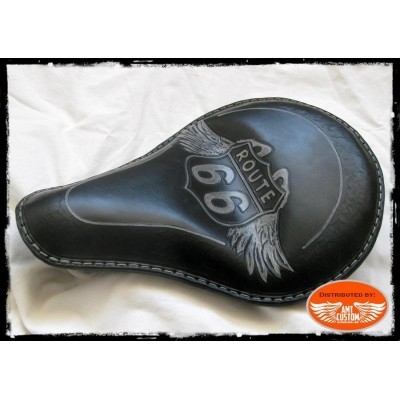 "Black leather solo seat "" Road 66"" custom / Choppers & Bobbers"