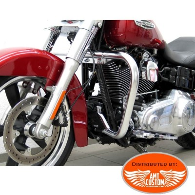 Dyna FLD Switchback Pare-cylindre Chrome pour Harley - Pare jambes - Pare Carter 38 mm