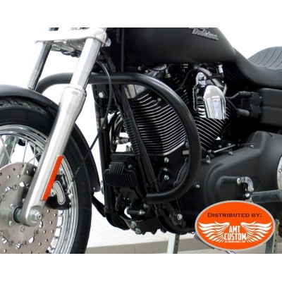 Dyna FXDF et FXDWG Pare-cylindre Noir Rond Fat Bob et  Wide Glide - Pare jambes pare-carter Harley