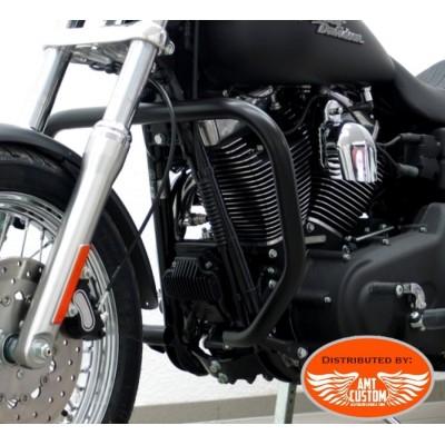"Dyna FXDF and FXDWG Black Extreme fat Engine guard ""Rectangle"" Fat Bob et Wide Glide Harley Davidson"
