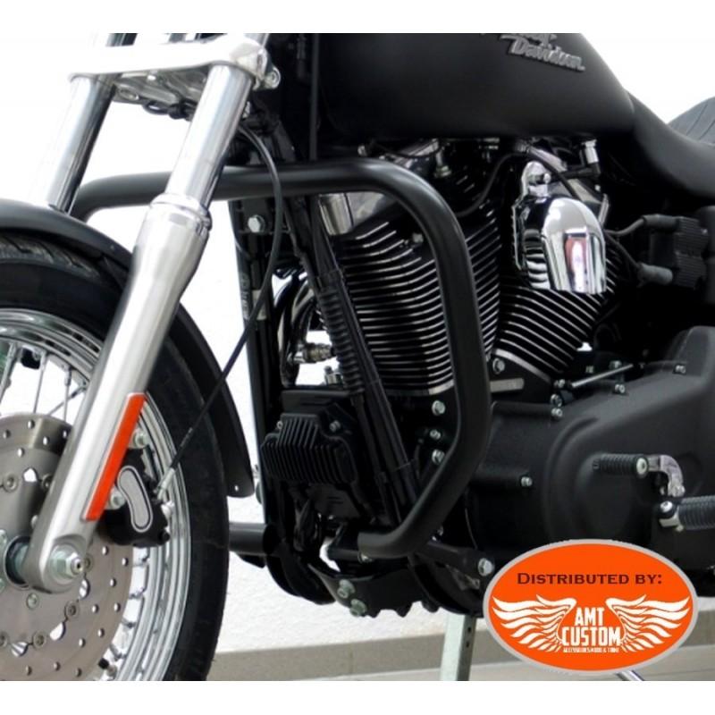 Dyna FXDF et FXDWG Pare-cylindre Noir rectangle Fat Bob et  Wide Glide - Pare jambes pare-carter Harley