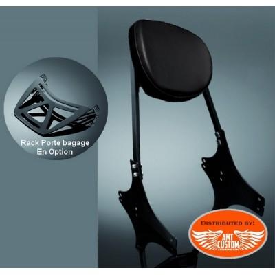 Dyna Sissy Bar confort Noir Porte Bagage pour Harley Street Bob - Super Glide - Wide Glide - Fat Bob - Low Rider