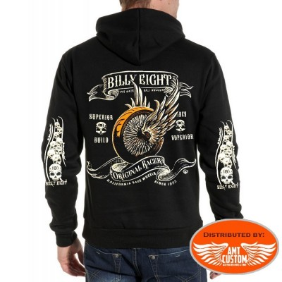 Skull Winged wheel Hooded Sweat Jacket Billy Eight Kustom