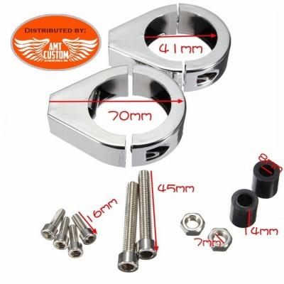 Attache universelle pour tube de 41 mm noire ou chromée