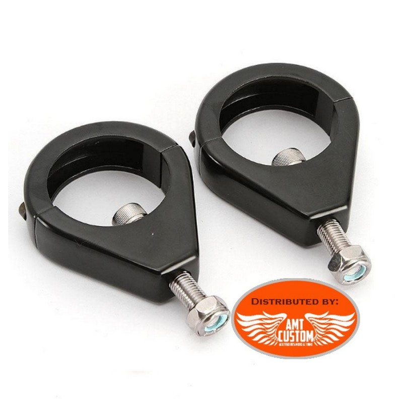 Universal compact black clamps for tube of 41mm motorcycles