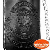 Skull rebel leather biker Wallet