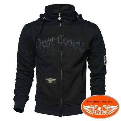 Veste capuche west coast choppers sweat black croix de malte moto custom trike harley biker motard