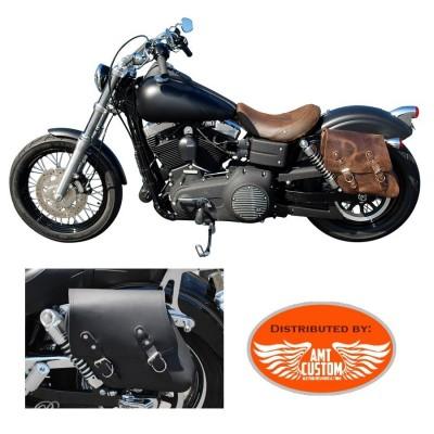 Dyna Sacoche solo cuir noir et marron pour FXD Harley Davidson
