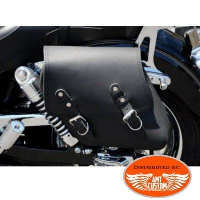 Dyna Sacoche solo cuir noir Harley Street Bob FXDB, Low Rider FXDL, Wide Glide FXDWG, Fat Bob FXDF