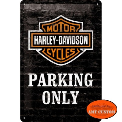 Plaque décorative  Harley Davidson moto custom parking only