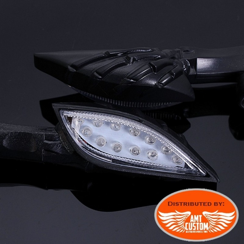 2 Clignotants LED squelette main Noir moto custom Harley choppers