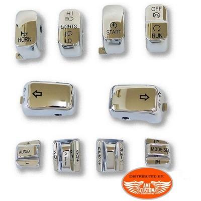 Kit 10 Cabochons Chrome ou noir pour boutons commodos Harley Davidson