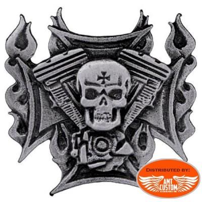 Pin's Skull tête de mort croix de malte flammes skull épinglette moto custom trike harley motard biker