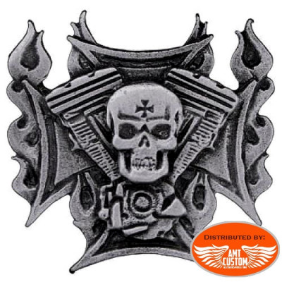 Badge VTwin motor Skull Pin jacket vest bag