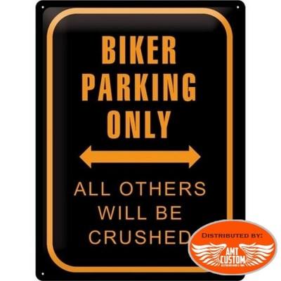 Plaque décorative Biker parking only moto custom trike motard biker idée cadeaux