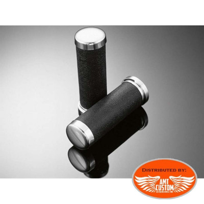 Pair of grips black and chrome 25 mm.