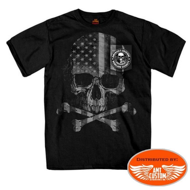 tshirt manches courtes tête de mort skull bones 2nd amendment homme moto custom trike harley motard biker