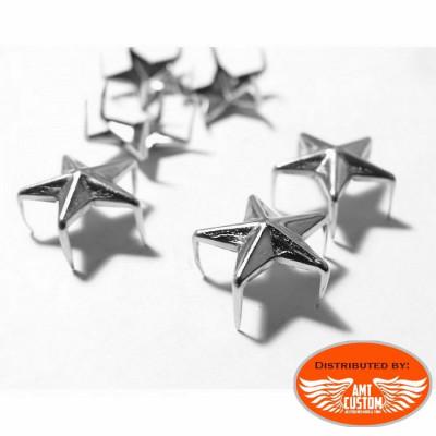 Lot de 20 rivets étoile chrome pour sacoches.