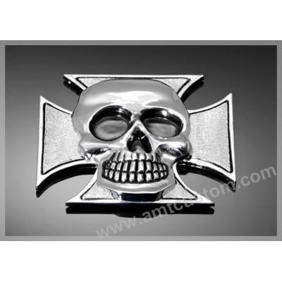 Adhesive Emblem Metal Chrome Iron Cross Skull