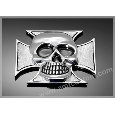 Adhesive Emblem Metal Chrome Iron Cross Skull