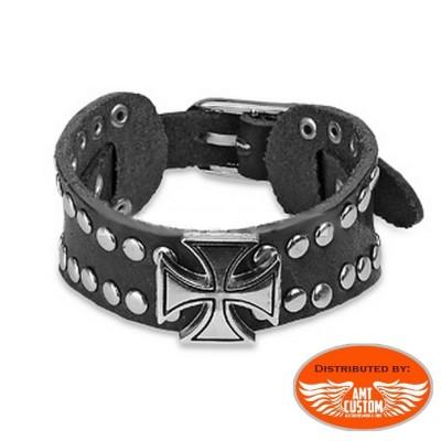 bracelet croix de malte clous gothique biker custom cuir moto chopper homme unisexe