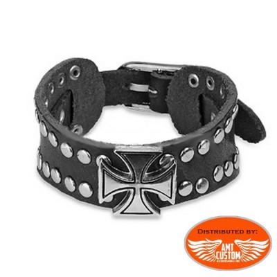 Chain Bracelet Maltese Cross studs motorcycle
