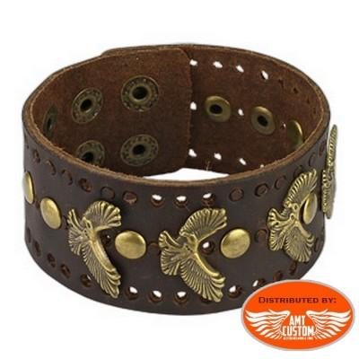 bracelet cuir marron aigle country biker custom cuir moto chopper homme unisexe