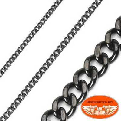 Collier chaine noir pour Pendentif Biker en acier