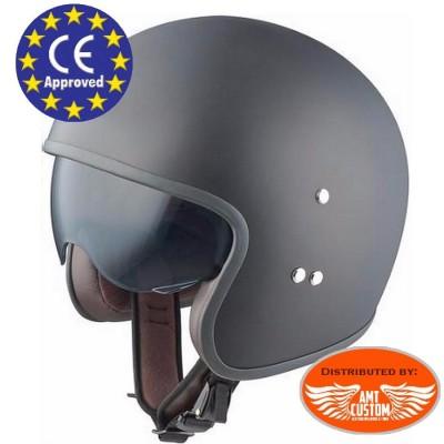 casque helmet jet moto custom noir visiere intégrée trike harley motard biker homologué