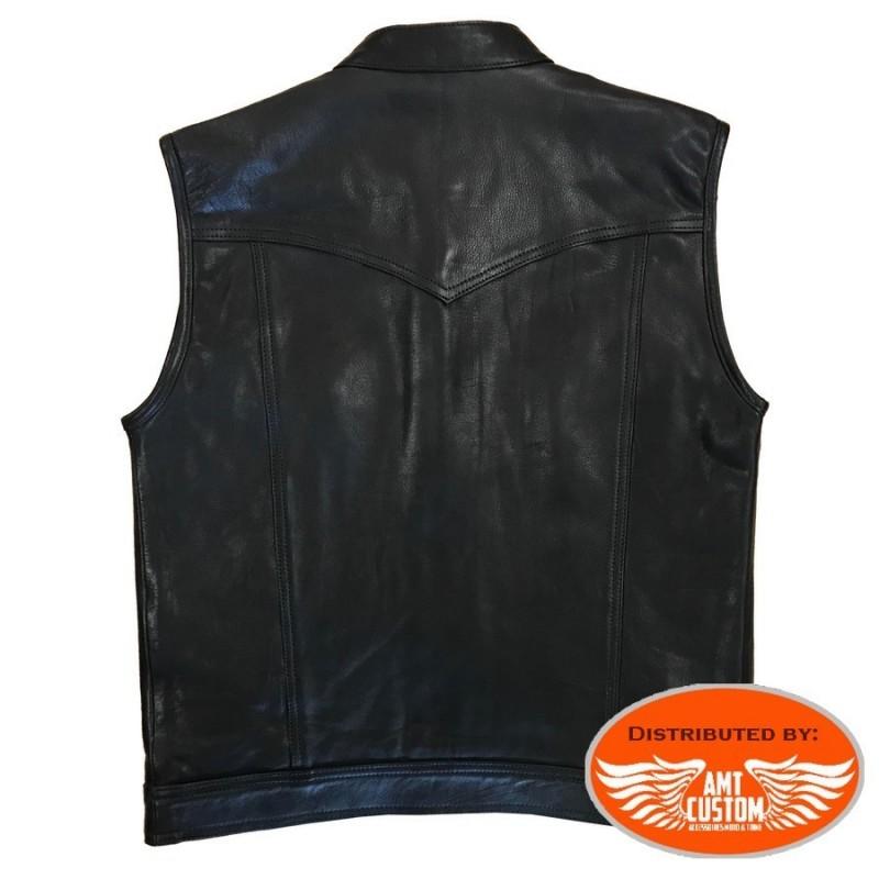Veste Gilet Biker Cuir Skull tête de mort Leather vest moto custom  trike lacets