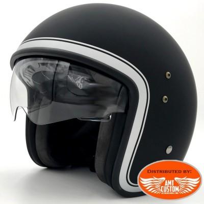 casque up helmet noir visière transparente incolore moto custom motard biker trike harley