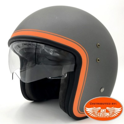 casque up helmet gris orange visiere incolore transparente moto custom motard biker trike harley