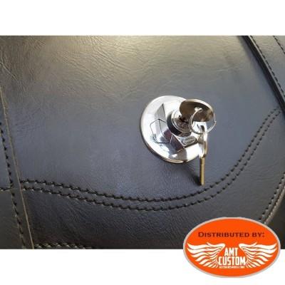 Sacoche à clés sissy bar Valise Top Case Cuir motos et trikes