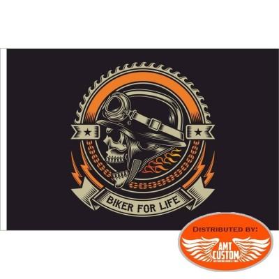 Ornamental Flag Skull Biker For Life, flag chopper flag moto custom harley trike