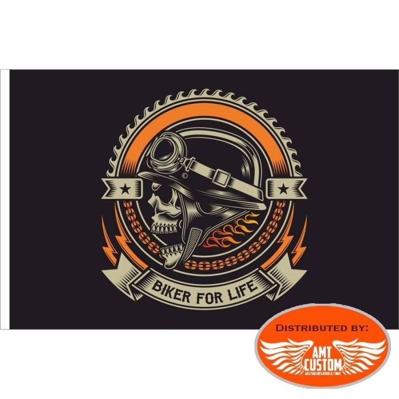 Drapeau d'ornement Skull Biker for life grand modèle drapeau tete de mort moto custom chopper