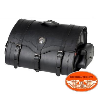 Sacoche à clés sissy bar 67 Litres Valise Top Case Cuir motos et trikes