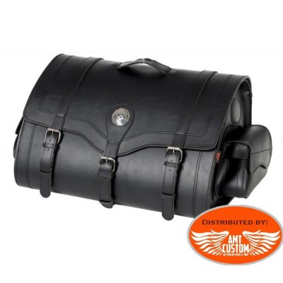Tek leather Suitcase 67 litres plain or with studs Sissy bar &  pack Bag motorcycles, Trikes