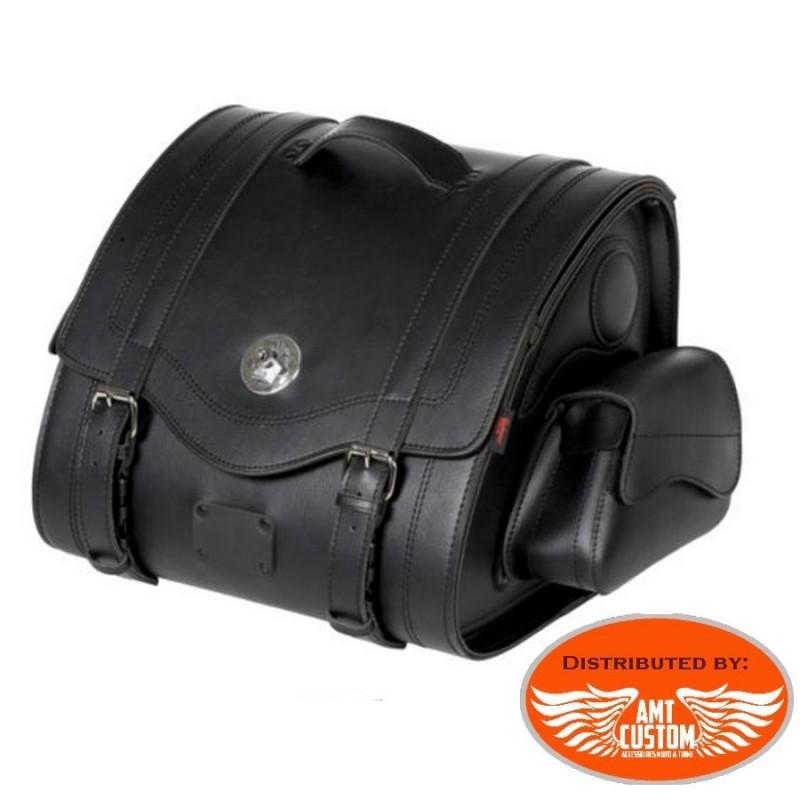 Sacoche à clés sissy bar 47 Litres Valise Top Case Cuir motos et trikes