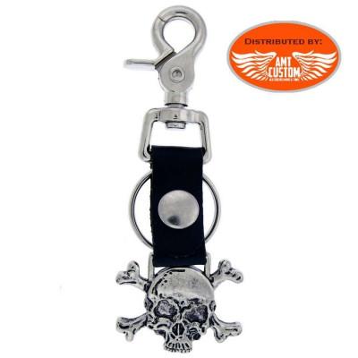 Porte clés décapsuleur Biker Cuir Skull bones